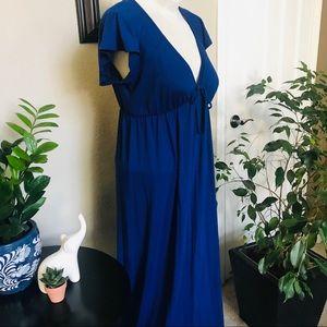 Flutter Sleeve V Neck Blue Maxi Dress Sz Medium